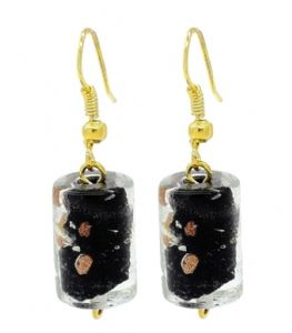 Gold & Black Murano Glass Drop Earrings